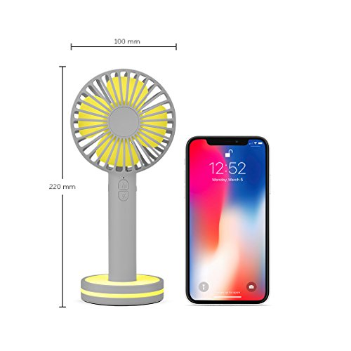 Function Labs Personal Mini USB Handheld Cooling Fan - Rechargeable, Compact, Portable, Adjustable 3 Fan Speed and Perfect for Kids/Camping- Comes with Magnetic Mirror Base (Grey Yellow) by Function Labs (Image #5)