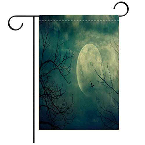 Polyester and linen Garden Flag Outdoor Flag House Flag BannerHorror House Decor Halloween with Full Moon in Sky and Dead Tree Branches Evil Haunted Forest Bdecorated for outdoor holiday gardens ()