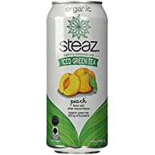 Steaz Organic Iced Teaz, Green Tea with Peach, 16 oz Cans, 12 pk