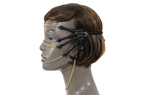 TFJ Women Sexy Halloween Half Face Eye Mask Costume Metal Skeleton Hands Chains Black - Las Vegas Costume Contest 2016