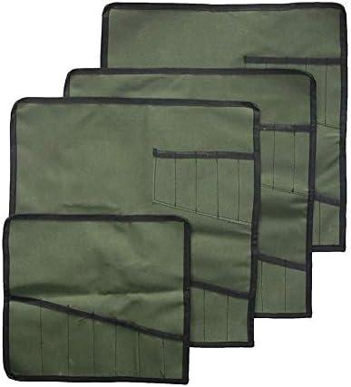 QEES 巻きツールケース 4枚入 ツールボックス 道具袋 工具バッグ 巻タイプ 13本 作業用品 小物整理 収納ケース 多機能袋 防水 持ち運び 便利 GJB77 (グリーン)