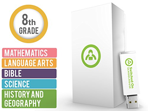 Switched on Schoolhouse, Grade 8, USB 5 Subject Set - Math, Language, Science, History, & Bible, 8th Grade Homeschool Curriculum by Alpha Omega (Best Homeschool Science Curriculum)