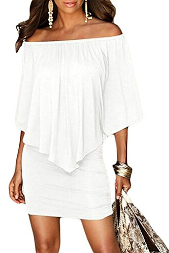 rosemia Women's Sexy Off Shoulder Ruffle Club Dress (White,XL)