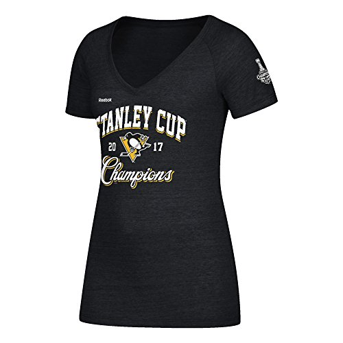 Reebok NHL Pittsburgh Penguins Adult Women Stanley Cup Script Champions Tri-Blend V-Neck Tee, Medium, Black Heather ()