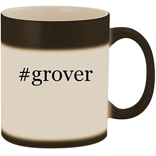 #grover - 11oz Ceramic Color Changing Heat Sensitive Coffee Mug Cup, Matte Black ()