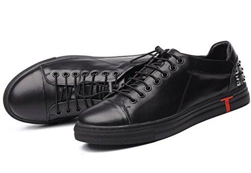 YCMDM Uomo Scarpe in pelle piedi Scarpe British Fashion Rivet scarpe morbide Casual , black , 38