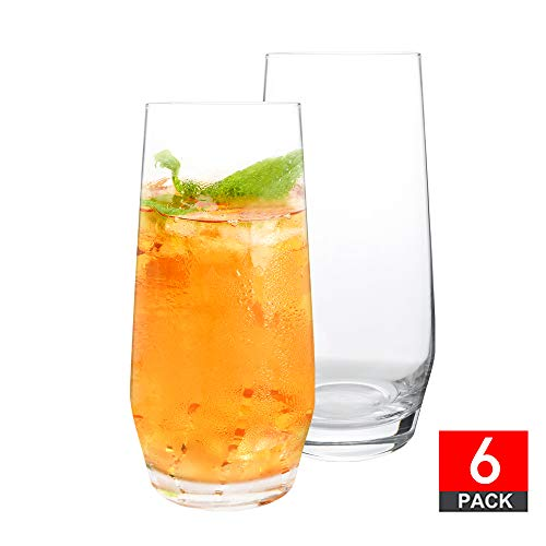 DESIGN•MASTER - Premium Large Capacity Tumbler Highball Glass Tableware for Water, Juice, Beer and Cocktails, 18.6 Oz, Set of 6 (Clear)