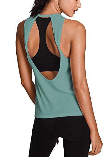 Mippo Womens Activewear Summer Workout Tops Sexy Backless Open Back Running Yoga Tank Tops Cute Muscle Tank Sleeveless Work Out Shirt Gym Fitness Sports Clothes for Juniors Graylish Green M