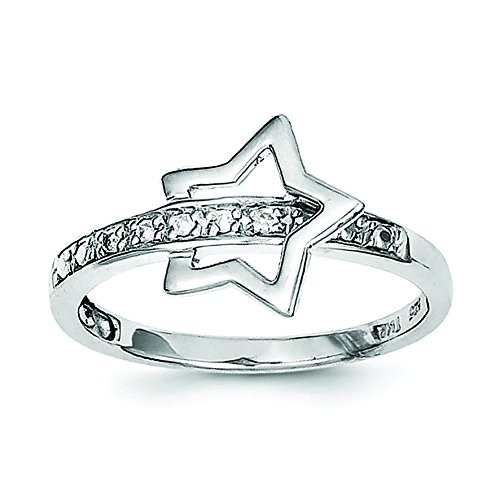 Sterling Silver Rhodium Plated Diamond Star Ring - Size - Star Diamond Rhodium