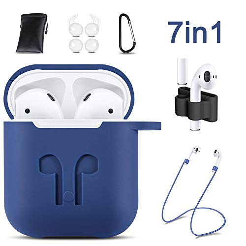 AirPods Case Cover,7 in 1 AirPods Accessories Silicone Airpods Protective Cover Set with Clip Holder/Keychain/Strap/Earhooks/Soft Storage Bag for Apple Airpod (Luxury Blue) by GIM