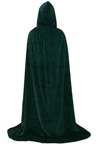 Clearoy Unisex Full Length Hooded Robe Cloak Cape Cosplay Halloween Costume L Green Velvet ()