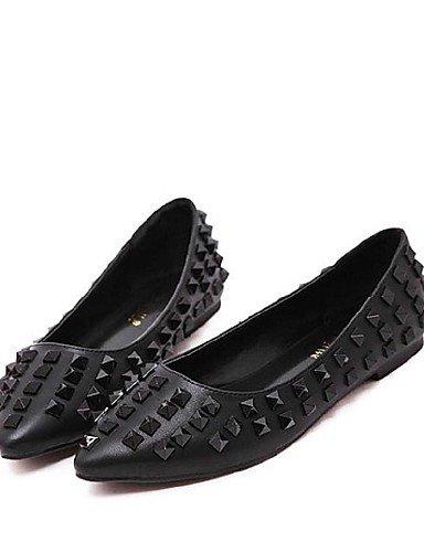 red Casual de cn39 eu39 Toe señaló us8 Flats las plano rojo talón zapatos mujeres negro PDX uk6 Cwq5xzR7x
