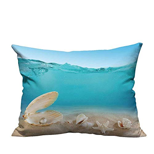 alsohome Lovely Cushion Covers Pearl Underwater Durable Cotton Linen 19.5x26 inch(Double-Sided Printing)