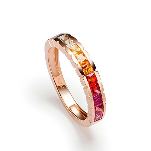 Gnzoe Rose Gold Women Wedding Rings Solitaire Promise Rings Rose Gold with Colorful 1.25ct Sapphire Size 6 by Gnzoe