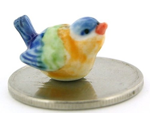 Dollhouse Miniatures Ceramic Baby Blue Bird FIGURINE Animals Decor