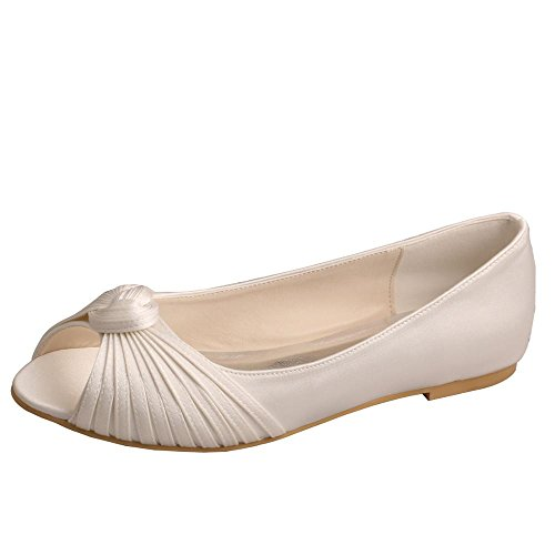 Wedopus for Pumps Ballet Ivory MW989 Toe Pleating Shoes Satin Women's Flats Peep Bride 1q1wrH6
