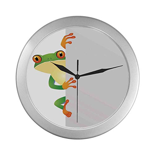 (C COABALLA Reptiles Simple Silver Color Wall Clock,Funky Frog Prince with Big Eyes on The Wall Camouflage Nursery Reptiles Decor for Home Office,9.65