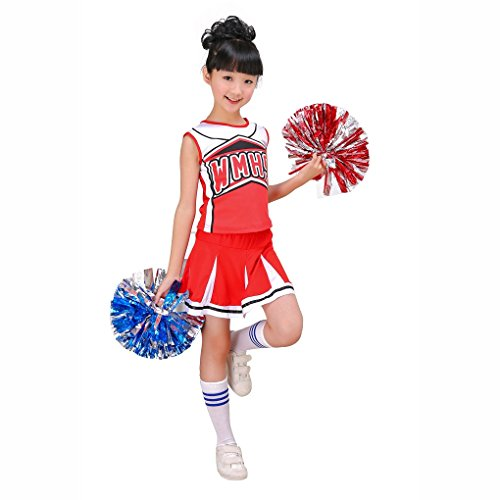Girls Red & Blue Cheerleader Outfit + Poms fits 3-15Yrs Clothes Dress - Toddler Cheerleading Outfit