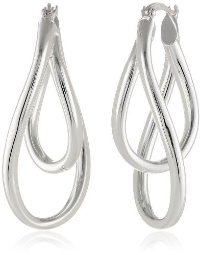 Sterling Silver Double Twist Oval Earrings - Sterling Silver Double Oval Earrings