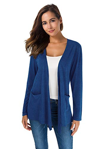 Cardigan Pocket Front - TownCat Women's Loose Casual Long Sleeved Open Front Breathable Cardigans with Pocket (Blue, XL)
