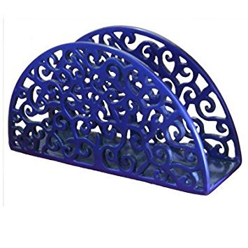 Anodized Aluminum Napkin Holder - Oriental Cut Outs - Blue by Yair Emanuel