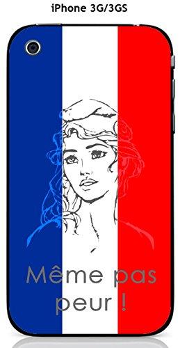 Cover Apple iPhone 3G/3GS Design Marianne Meme non paura, Blu, Bianco Rosso