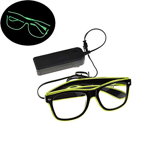 Pawaca EL Wire Glasses, LED Light Up Bright Glasses with Flashing Multicolor Frame for Halloween Christmas Birthday Party Gift (Green)
