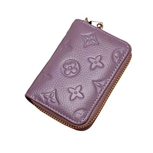 Auner Women RFID Blocking Credit Card Holder Leather Cute Small Zipper Wallet - Purple