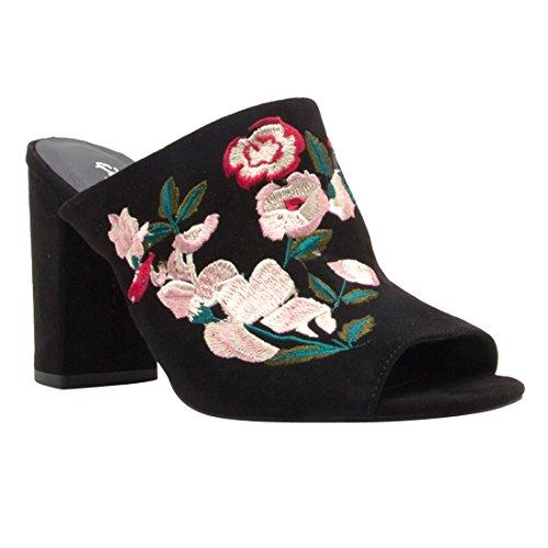 Qupid Ej09 Mujeres Floral Peep Toe Bordado Sin Respaldo Slip On Mule Heels Negro