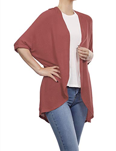BH B.I.L.Y USA Women's Dolman Sleeve Open Front Waffle Cardigan Mauve XXX-Large