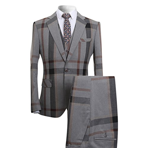 YFFUSHI Mens Classic Plaid and Pinstripe Tailored-Fit One Button 2 Pcs Suit Slim (XL, Grey)