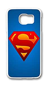 Samsung Galaxy S6 Case,Logo Series Customize Ultra Slim Entertainment Superman Logo Hard Plastic PC White Case Bumper Cover for S6