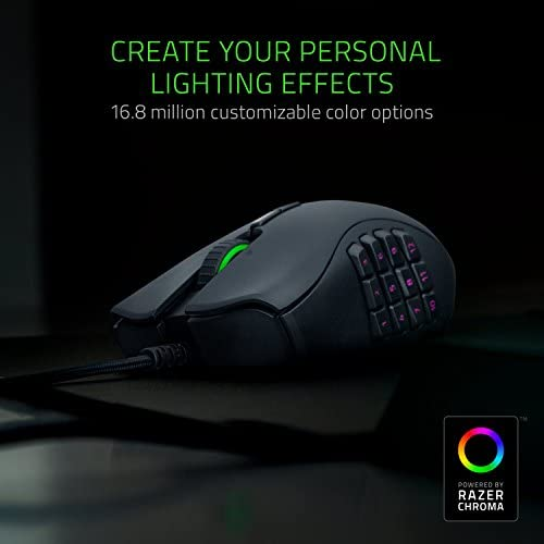 Razer Naga Trinity Gaming Mouse: 16,000 DPI Optical Sensor – Chroma RGB Lighting – Interchangeable Side Plate w/ 2, 7, 12 Button Configurations – Mechanical Switches 41vSFap53SL