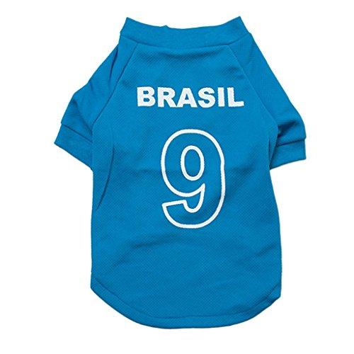 Clary Copa Mundial de la FIFA 2018 Camiseta de fútbol para Mascotas Jersey de Perro para Brasil Camiseta Deportiva de...