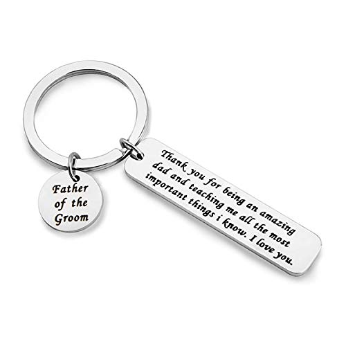 MAOFAED Father of The Groom Gift Mother of The Groom Gift Parent Wedding Gift Parent of The Groom Gift from Son Parent Appreciate Wedding Gift Keychain (Father of The Groom) by MAOFAED