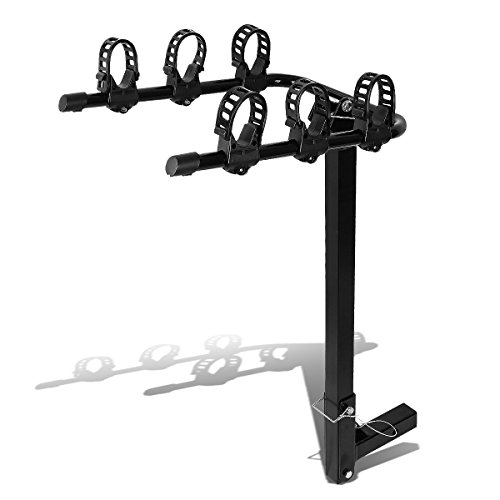 2 inches Hitch Fold-Up Mount Rear Trailer Bicycle/Bike Rack Carrier Storage (Powdered Coated Black)