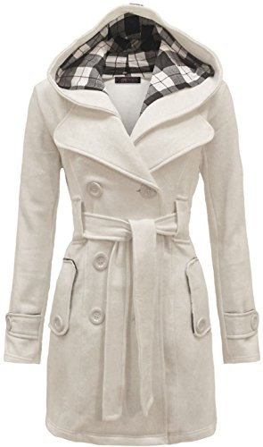 Geben Women's Winter Warm Fleece Check Hooded Double Breast Coat Jacket