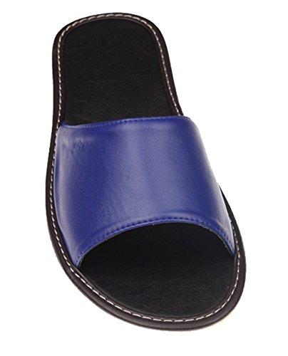 Cattior Heren Kleurrijke Gezellige Pu Lederen Slippers Open Teen Slippers Blauw