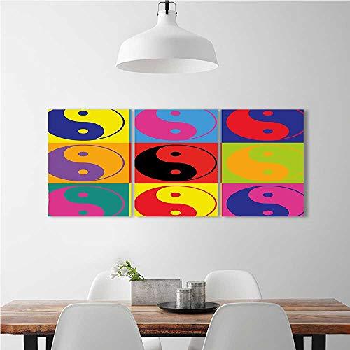 Aolankaili 3 Piece Wall Art Painting Frameless Pop Art Design Yin Yang Signs Style Asianations Peace Balance Posters Wall Decor Gift W16 X H32 X 3Pcs
