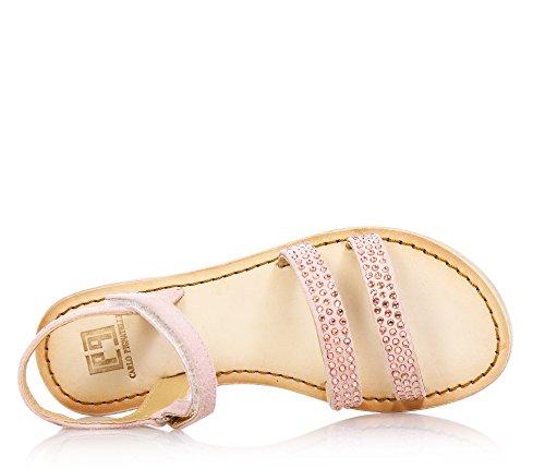 CARLO PIGNATELLI - Sandale rose en cuir et croûte, qui exalte l'élégance, la vivacité et la douceur des plus petits, avec fermeture en velcro, Fille, Filles