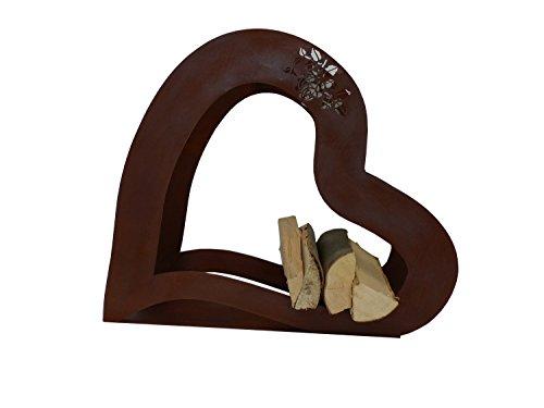 Holzsammler /-korb Kaminholzregal Feuerholzständer Edelrost aus Stahl als nützliche Deko für Grill, Kamin und Feuerstelle (Herz (Rostdeko))