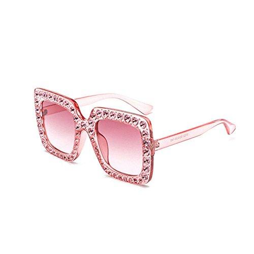 Aoligei Grosse boîte carrée classique toutes les lunettes de soleil de diamant montrent visage lunettes mode Europe et le ventilateur États-Unis réseau Red W IND incrusté de diamants lunettes de solei bpMVz