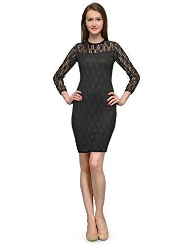 4e99083f27c2 BLACK NET OVERLAY MIDI DRESS: Amazon.in: Clothing & Accessories