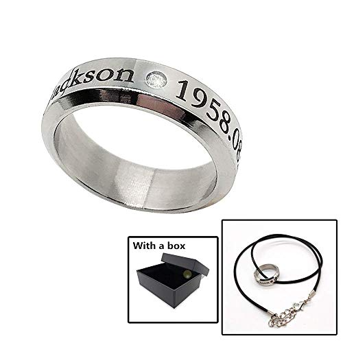 Gn2u Michael Jackson Pendant Necklace Silver Ring Classic Handmade Carve with a Leather Rope -