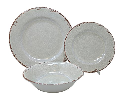 Gianna's Home 12 Piece Rustic Farmhouse Melamine Dinnerware Set, Service for 4 (Ivory)
