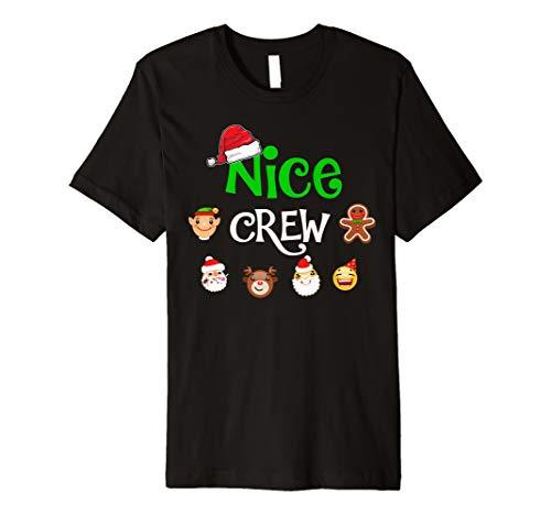 Nice Crew Matching Family Christmas Emoji T shirt Xmas Gift