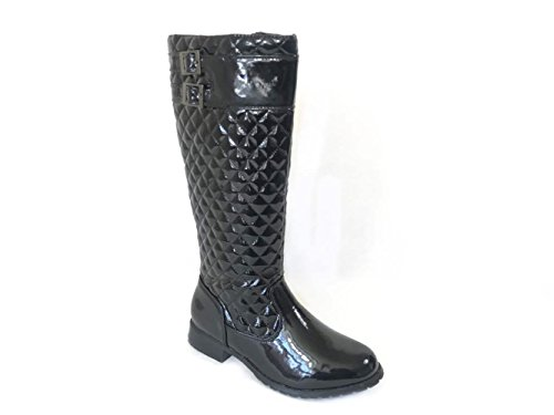 WOMENS LADIES BLACK QUILTED WINTER FASHION BOOTS BUCKLE ZIP UP QUILT SIZE 3-8 Black Patent (139902) xeL0CpfYG