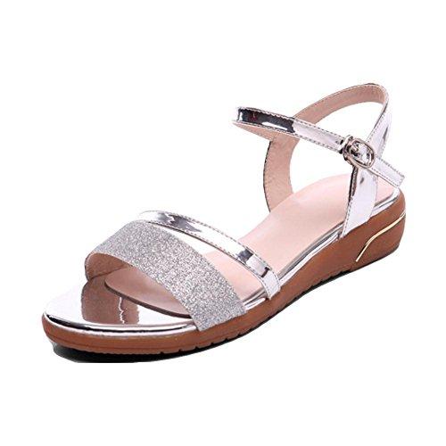 Sandales féminin été fond plat doux semelles orteil sandales mot boucle silver 38