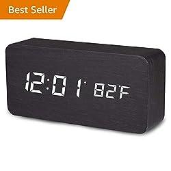 Vandora Wooden Alarm Clock, LED Digital Clock White Backlight, Voice Control Display Time, Date, Temperature Home & Office (Black