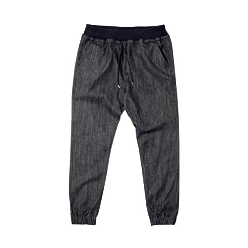 Crooks & Castles Mens Essential Woven Denim Jogger Pants Large Washed Indigo